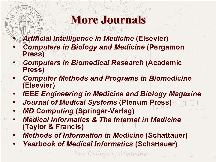 More Journals • Artificial Intelligence in Medicine (Elsevier) • Computers in Biology and Medicine