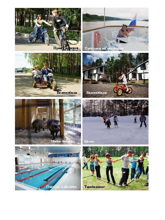 Пункт проката Прокат велосипедов Веломобили Мини-зоопарк Поездки в бассейн Прогулки на теплоходе Веломобили Каток