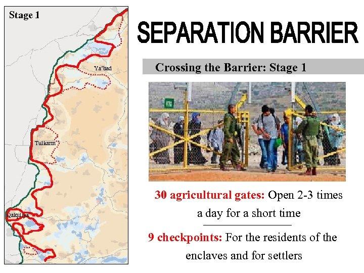 Stage 1 Ya'bad Crossing the Barrier: Stage 1 Tulkarm Qalqiliya 30 agricultural gates: Open
