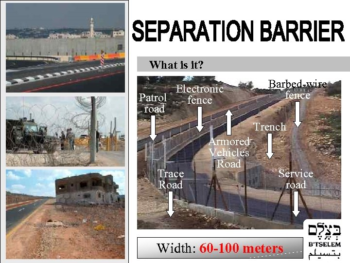 What is it? Electronic Patrol fence road Barbed-wire fence Trench Trace Road Armored Vehicles
