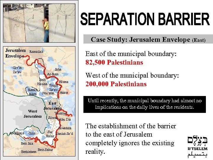 Case Study: Jerusalem Envelope (East) Jerusalem Envelope Ramallah Falamya Giv'at Ze'ev Zufin Qalqilya Kafr