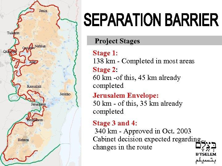 Jenin Tulkarm Qalqiliya Project Stages Qedumim. Nablus Ariel Ramallah Jericho Jerusalem Bethlehem Hebron Stage
