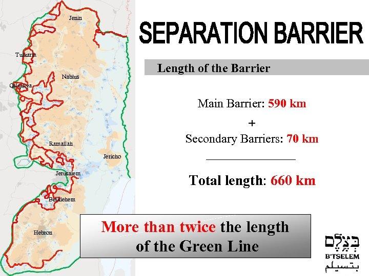Jenin Tulkarm Length of the Barrier Nablus Qalqiliya Main Barrier: 590 km + Secondary