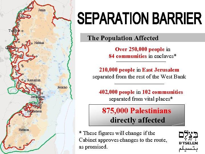 Jenin Tulkarm The Population Affected Nablus Qalqiliya Over 250, 000 people in 84 communities