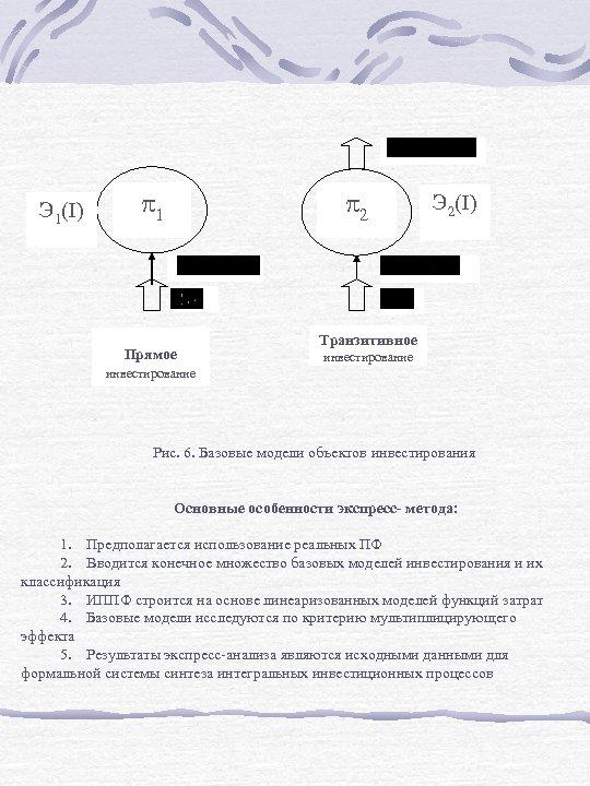 Э 1(I) 1 2 Прямое Э 2(I) Транзитивное инвестирование Рис. 6. Базовые модели объектов