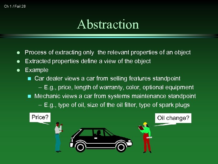 Ch 1 / Foil 26 Abstraction l l l Process of extracting only the