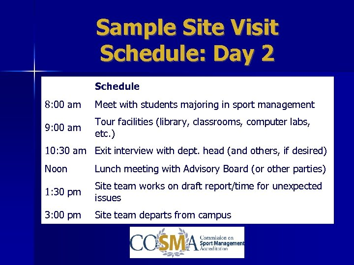 Sample Site Visit Schedule: Day 2 Schedule 8: 00 am Meet with students majoring