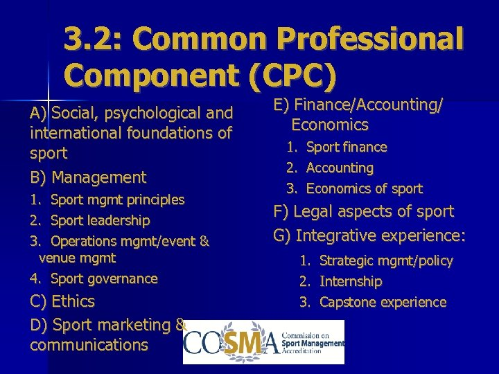 3. 2: Common Professional Component (CPC) A) Social, psychological and international foundations of sport