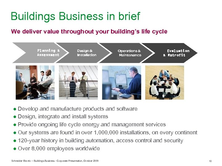 Buildings Business in brief We deliver value throughout your building's life cycle Planning &