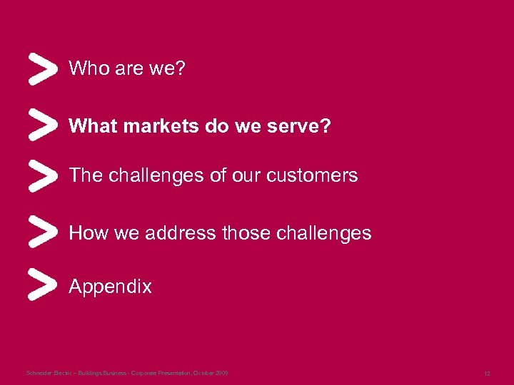 Who are we? What markets do we serve? The challenges of our customers How