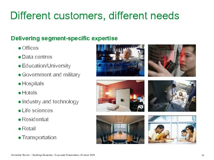 Different customers, different needs Delivering segment-specific expertise ● Offices ● Data centres ● Education/University