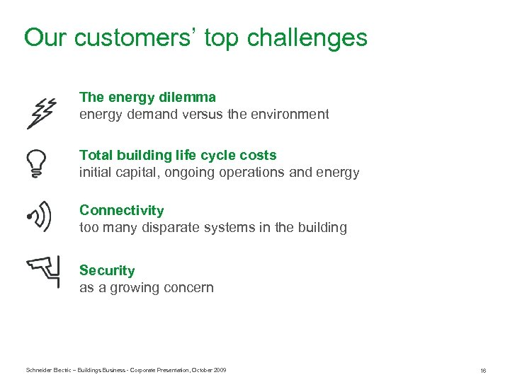 Our customers' top challenges The energy dilemma energy demand versus the environment Total building