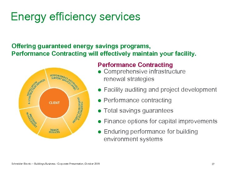 Energy efficiency services Offering guaranteed energy savings programs, Performance Contracting will effectively maintain your