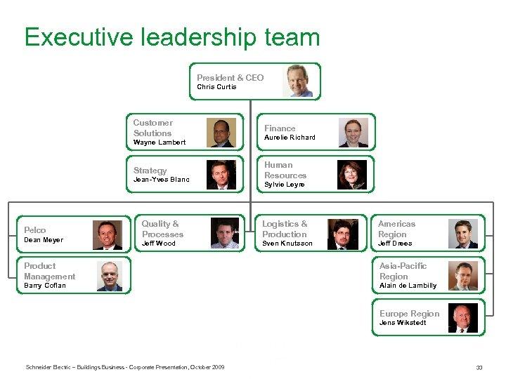 Executive leadership team President & CEO Chris Curtis Customer Solutions Wayne Lambert Finance Aurelie
