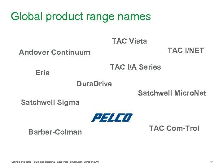 Global product range names TAC Vista TAC I/NET Andover Continuum TAC I/A Series Erie