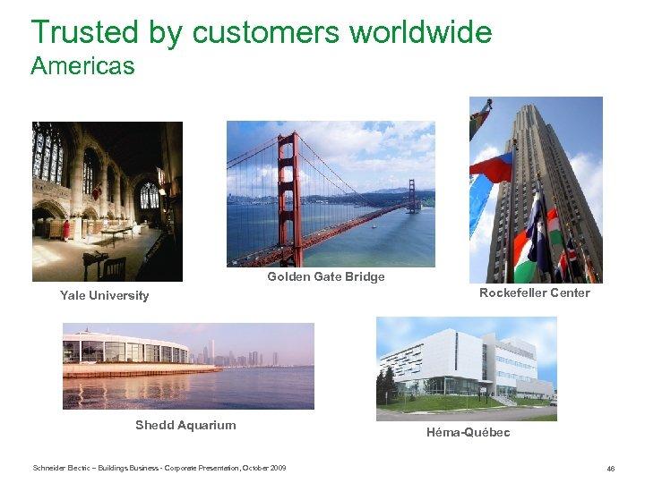 Trusted by customers worldwide Americas Golden Gate Bridge Yale University Shedd Aquarium Schneider Electric
