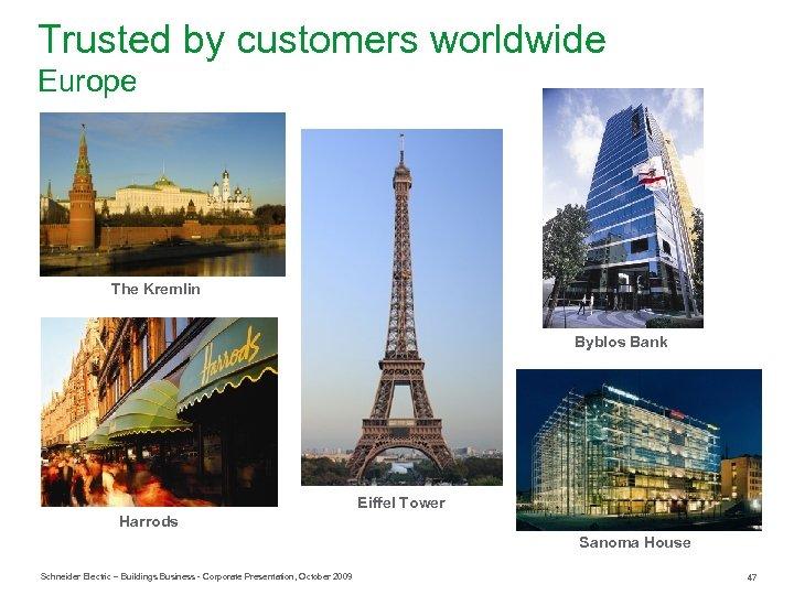 Trusted by customers worldwide Europe The Kremlin Byblos Bank Eiffel Tower Harrods Sanoma House