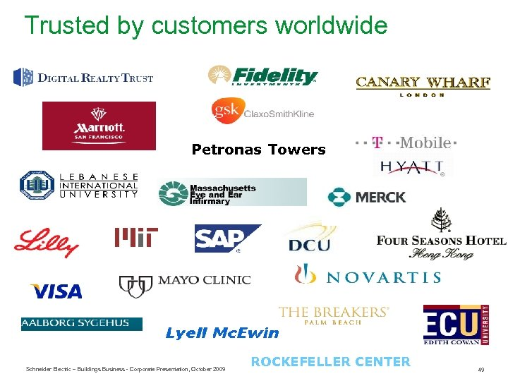 Trusted by customers worldwide Petronas Towers Schneider Electric – Buildings Business - Corporate Presentation,