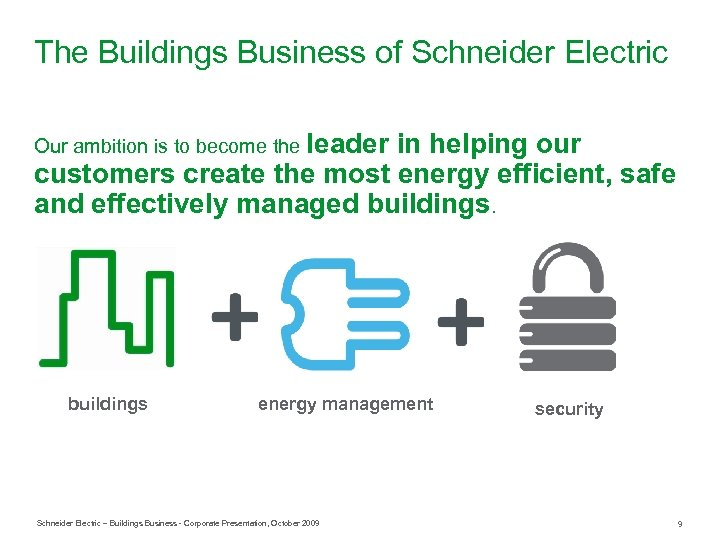 The Buildings Business of Schneider Electric Our ambition is to become the leader in
