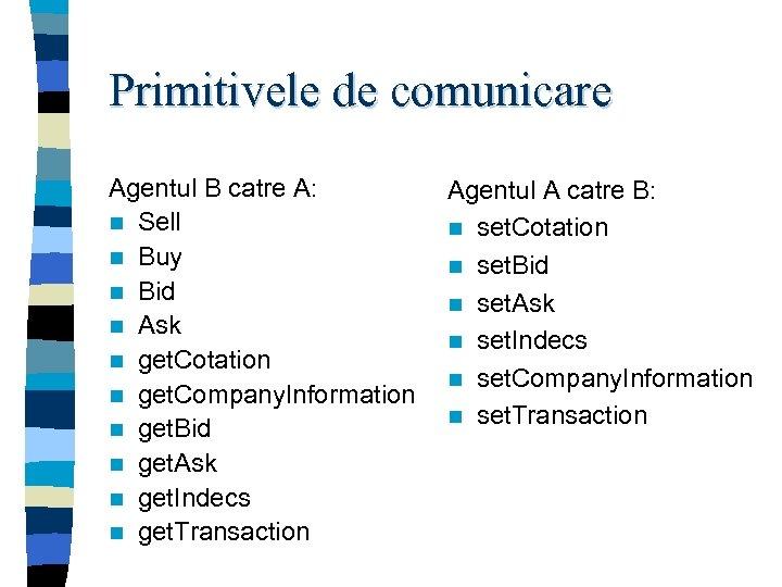 Primitivele de comunicare Agentul B catre A: n Sell n Buy n Bid n