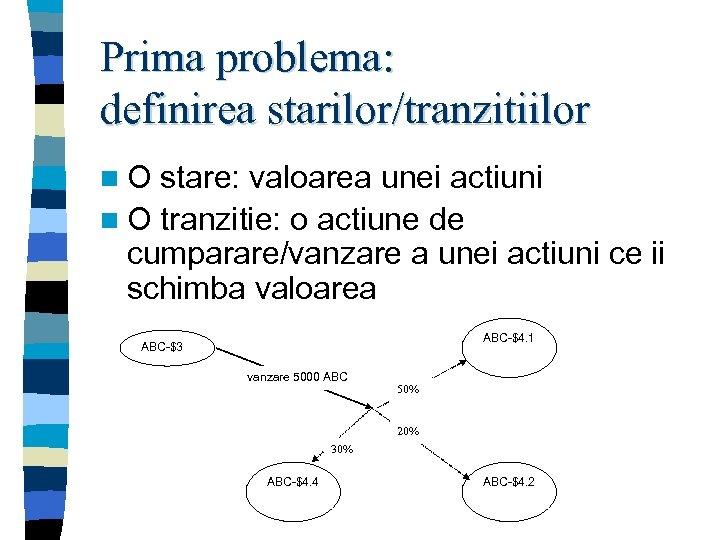 Prima problema: definirea starilor/tranzitiilor n. O stare: valoarea unei actiuni n O tranzitie: o