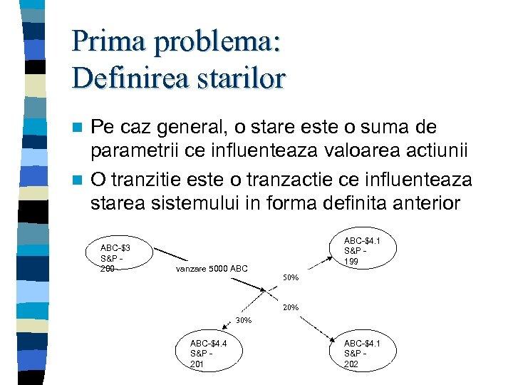 Prima problema: Definirea starilor Pe caz general, o stare este o suma de parametrii