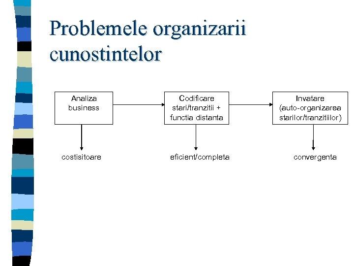 Problemele organizarii cunostintelor Analiza business costisitoare Codificare stari/tranzitii + functia distanta eficient/completa Invatare (auto-organizarea