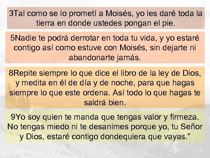3 Tal como se lo prometí a Moisés, yo les daré toda la tierra