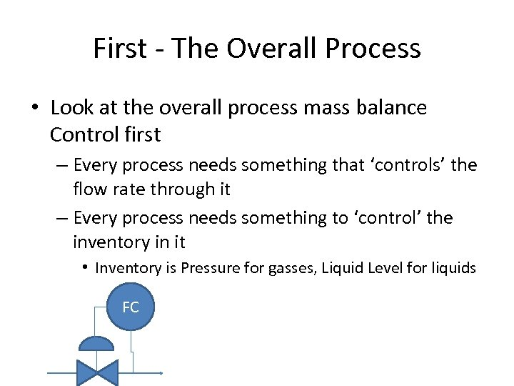 First - The Overall Process • Look at the overall process mass balance Control