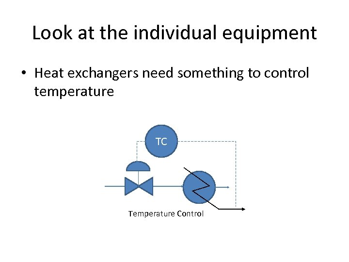 Look at the individual equipment • Heat exchangers need something to control temperature TC