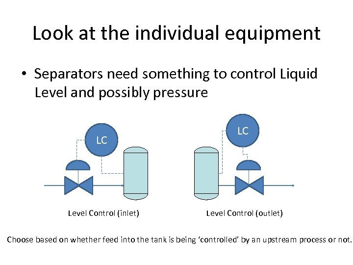 Look at the individual equipment • Separators need something to control Liquid Level and