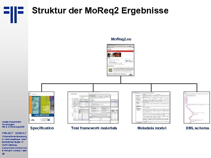 Struktur der Mo. Req 2 Ergebnisse Mo. Req 2. eu Update Dokumenten. Technologien RM