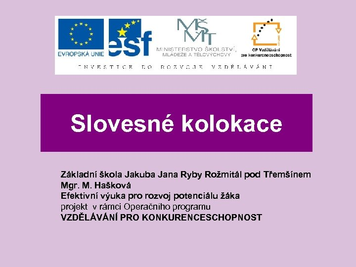 Slovesné kolokace Základní škola Jakuba Jana Ryby Rožmitál pod Třemšínem Mgr. M. Hašková Efektivní