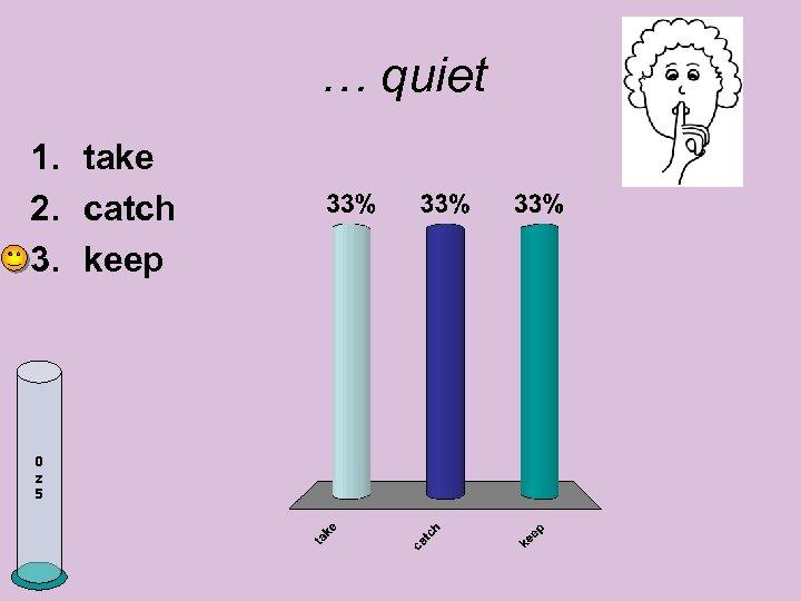 … quiet 1. take 2. catch 3. keep 0 z 5