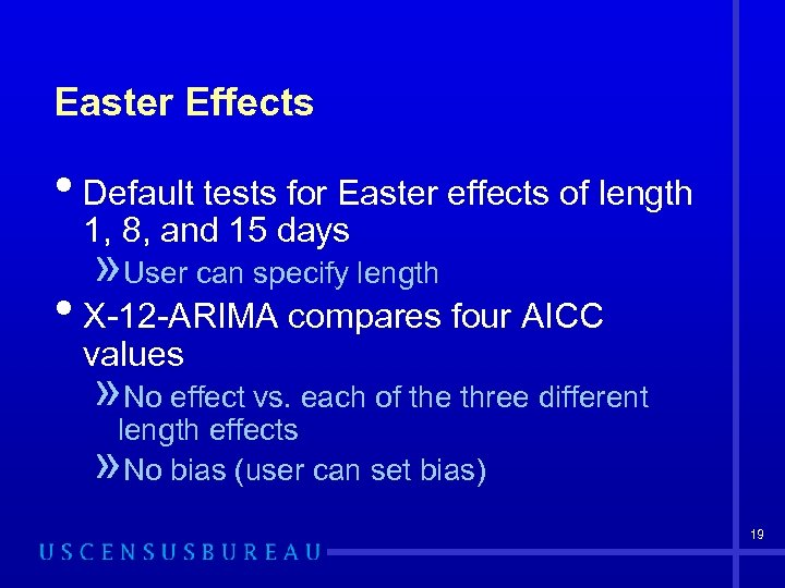 Easter Effects • Default tests for Easter effects of length 1, 8, and 15