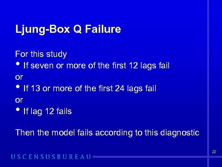 Ljung-Box Q Failure For this study If seven or more of the first 12