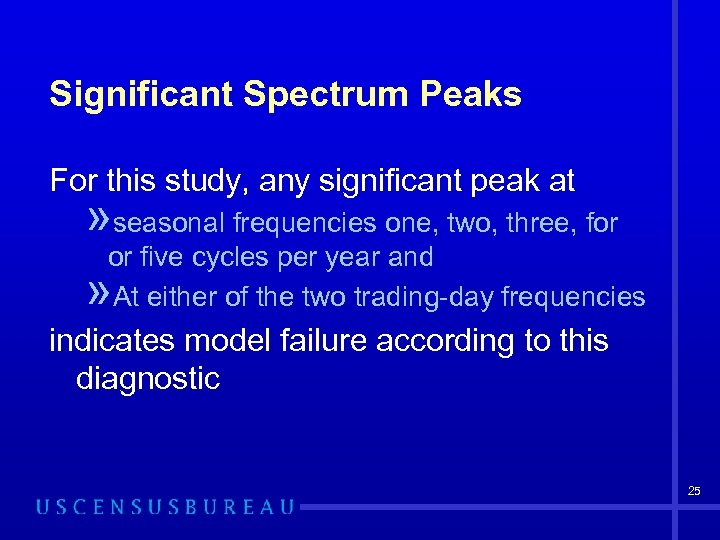 Significant Spectrum Peaks For this study, any significant peak at » seasonal frequencies one,