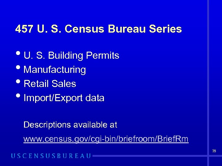 457 U. S. Census Bureau Series • U. S. Building Permits • Manufacturing •
