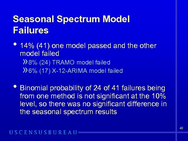 Seasonal Spectrum Model Failures • 14% (41) one model passed and the other model