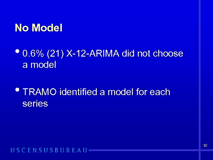 No Model • 0. 6% (21) X-12 -ARIMA did not choose a model •