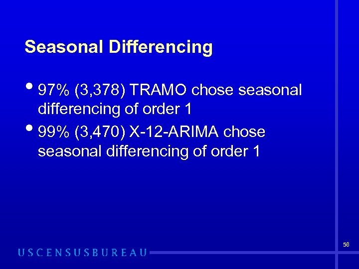 Seasonal Differencing • 97% (3, 378) TRAMO chose seasonal • differencing of order 1