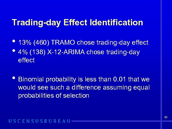 Trading-day Effect Identification • 13% (460) TRAMO chose trading-day effect • 4% (138) X-12
