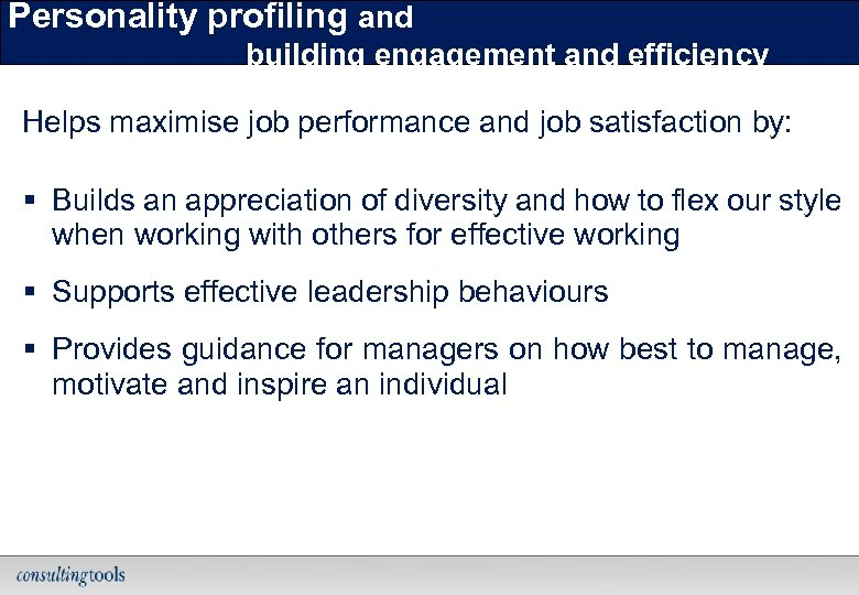 Personality profiling and building engagement and efficiency Helps maximise job performance and job satisfaction
