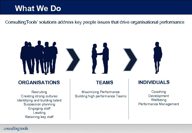 What We Do Consulting. Tools' solutions address key people issues that drive organisational performance