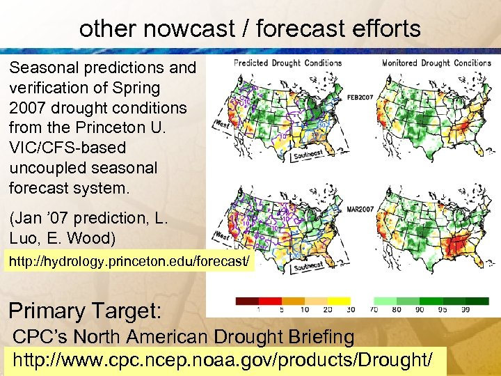 other nowcast / forecast efforts Seasonal predictions and verification of Spring 2007 drought conditions