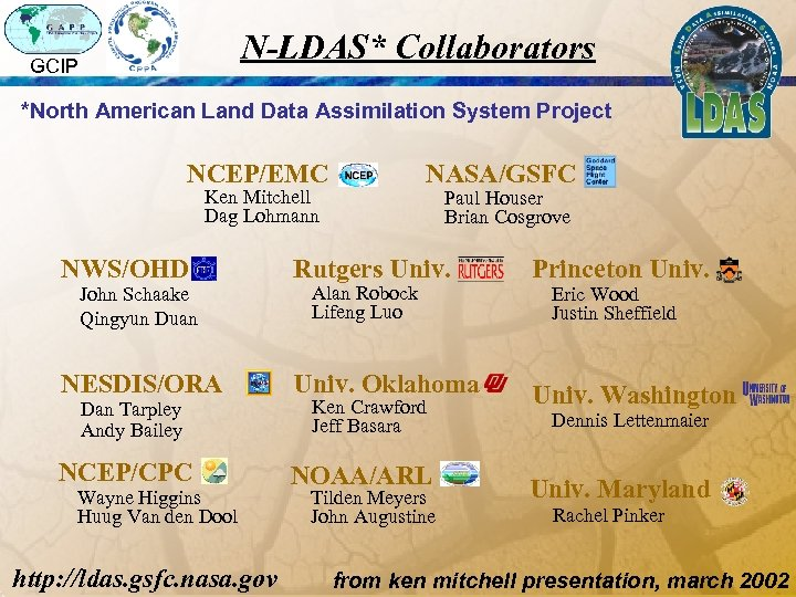 N-LDAS* Collaborators GCIP *North American Land Data Assimilation System Project NCEP/EMC NASA/GSFC Ken Mitchell