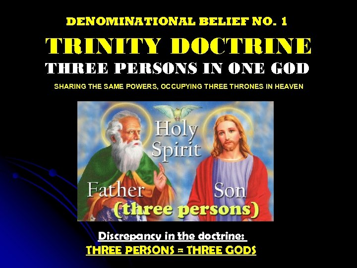 DENOMINATIONAL BELIEF NO. 1 TRINITY DOCTRINE THREE PERSONS IN ONE GOD SHARING THE SAME