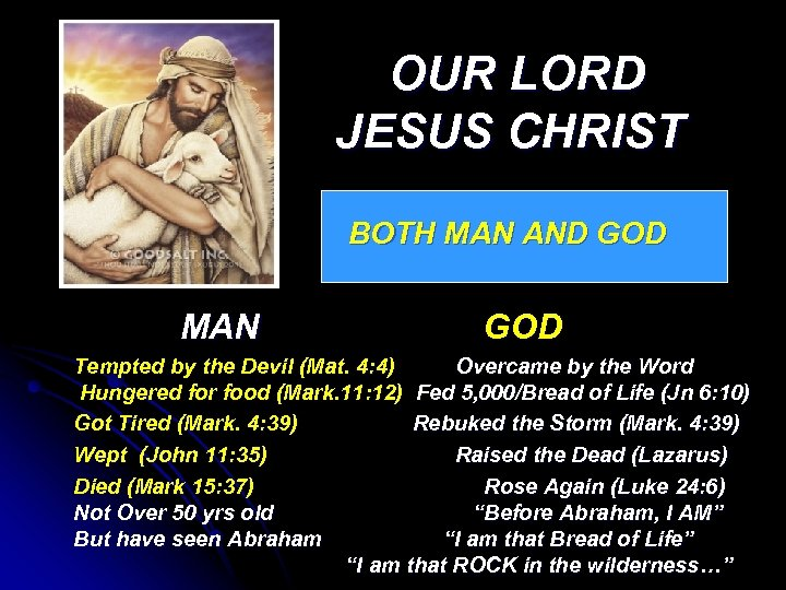 OUR LORD JESUS CHRIST BOTH MAN AND GOD MAN GOD Tempted by the Devil