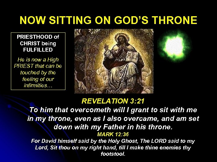 NOW SITTING ON GOD'S THRONE PRIESTHOOD of CHRIST being FULFILLED He is now a