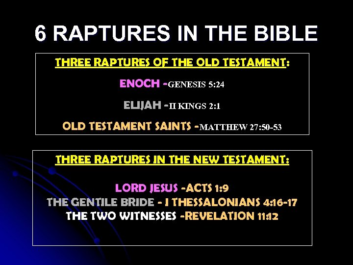 6 RAPTURES IN THE BIBLE THREE RAPTURES OF THE OLD TESTAMENT: ENOCH -GENESIS 5:
